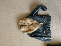 Girls river island leather jacket, age 7, from pet/smoke free home. £10