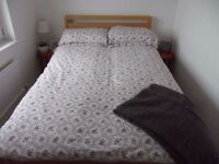 Nearly New - Bed Linen - Ikea Red & Grey Floral Double Bed Duvet Cover & 4 Pillow Cases