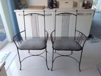 2 metal carver chairs