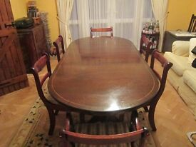 Dark Oak dining room table & chairs