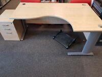 Corner desk and 3 drawer pedestal
