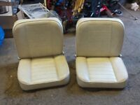 Two Cream Leather Folding Marine Boat Seats