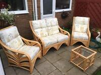 COTTAGE CANE 4 Piece conservatory set, AS NEW, in excellent condition NOT A CHEAP SET !!