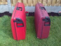 Carlton Suitcases Matching Pair De-Lux in Red and Maroon Good Condition On wheels with Combi Locks