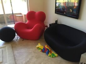 B&B Italia UP Series Sofa & 2 Armchairs with footrests