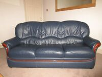 2 X LEATHER SOFAS + RECLINER CHAIR WITH MAHOGANY TRIM IN STEEL BLUE.