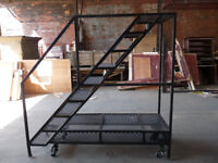 Industrial Metal Stairs Architectural Salvage Garden Seat Planter Shelves