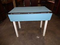 Vintage Retro drop leaf kitchen formica blue table shabby chic upcycle