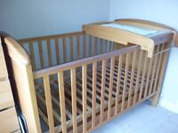 Mamas and Papas cot bed with cot top changer unit and under cot storage drawer