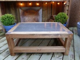Antique style coffee table with dark polished concrete inlay.