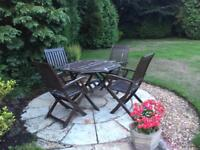 Solid Wooden Table, Chairs & Cushions