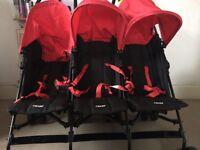 Obaby Mercury Triple Stroller Pushchair-black and red