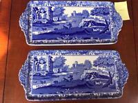 Copeland Spode blue Italian vintage porcelain trays set of 2