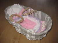 BABY DOLL MOSES BASKET with ribbons & bedding - IMMACULATE + FREE DOLL - very expensive on Amazon!