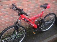 Red harlem devil mountain bike.