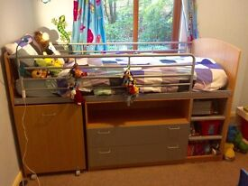 Cabin bed with drawers, shelves and desk will prove a welcome addition in your child's bedroom.