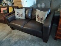 Brown Leather 2 seater sofa settee Deliv Poss £100 ono