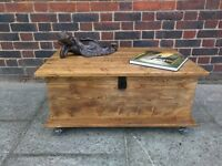 Rustic storage coffee table/media unit/trunk chest/Hasp & casters. Handcrafted reclaimed