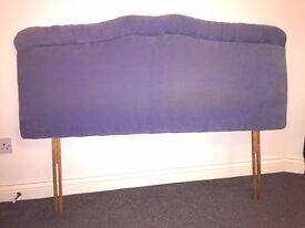 Velour Headboard Double Bed Head Bedhead Blue