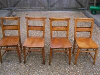 SET OF 4 OLD CHURCH CHAIRS. Delivery possible. MORE CHAPEL CHAIRS, PEWS, TABLES & MONKS BENCH.