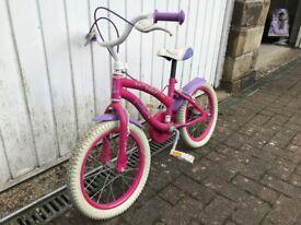2 girls push bikes