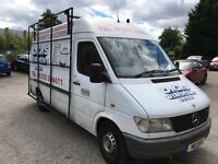 Mercedes Sprinter 310D MWB glazing van fully racked inside and glass frail on side ready to work