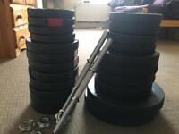 80KG WEIGHTS. Gym equipments with dumbbell bars.