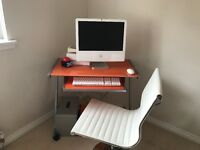 Orange glass and Chrome computer desk