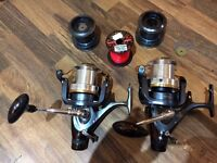 2x Sea fishing rods (12'), reels and tripod