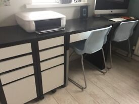 Ikea full office desk, filing and chairs