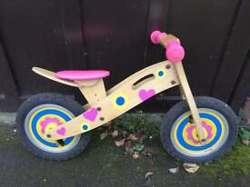 Child's wooden balance bike First/starter bike