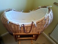 Mothercare moses basket with gliding stand
