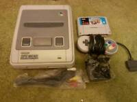 NINTENDO SNES WITH MARIO KART ALL LEADS 1 PAD