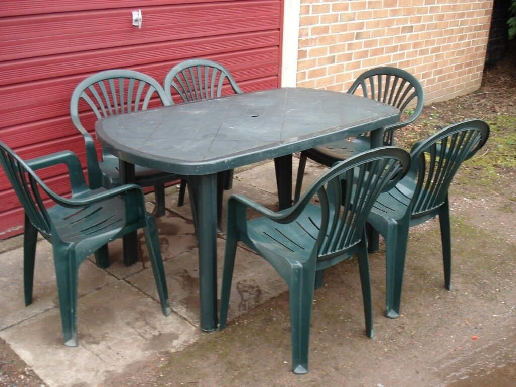 Green Plastic Dining Table And 6 Chairs