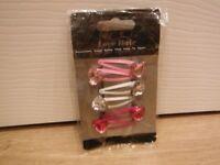Girls Hair Slides 3 Pack Pink & White Diamante On Them Brand New