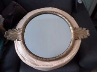 A Vintage Ornate Gold Coloured hanging wall Mirror
