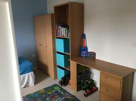 Wardrobe, desk and shelving unit