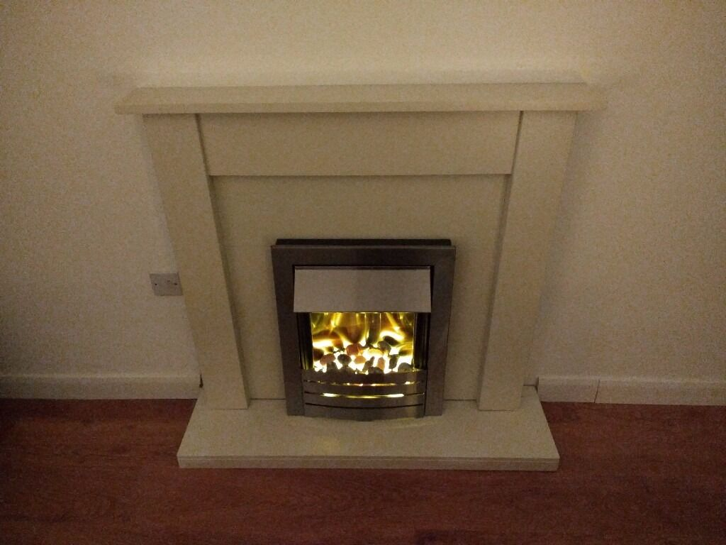 adam helios electric fire in brushed steel with cream coloured