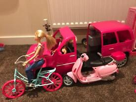 Barbie Limousine Motorcycle Bike And Dolls