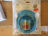 New! 5 Piece set, Disney Baby Cars Microwave Safe Set - Plastic Dinner Set