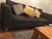 Charcoal 3 seater sofa for sale chrome feet