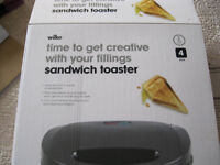 Sandwich toaster in black - Wilko's new in box - Lawnswood LS16