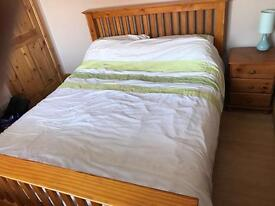 Pine King size double bed with mattress