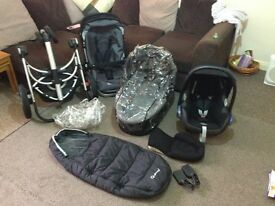 Quinny Buzz 3 Travel System Pram, Maxi-Cosi Car Seat and Carry coat