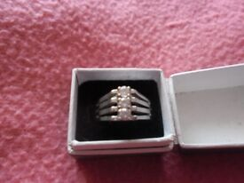 Silver Dress Ring With 3 Clear Stones