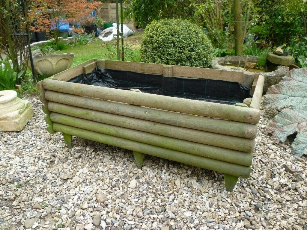 Large Wooden Raised Log Planter Bed Reclaimed 8 Ono