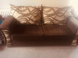3-1-1 suite for sale,cream n chocolate brown,in great condition,very comfy suite.