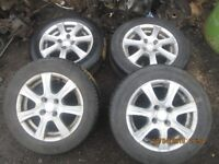 Toyota Yaris Alloy Wheels and Tyres 175/65 14 Two Good Tyres and Two Okay.