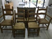 6 solid wood dining chairs