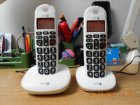 Doro PhoneEasy 100W Duo Twin DECT Cordless Phone Amplified Sound Big Buttons Boxed